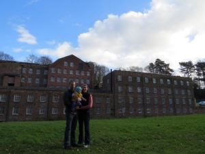 Family photo op from the back of the mill.